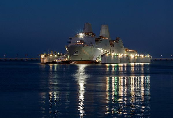 US Navy christens new amphibious dock ship