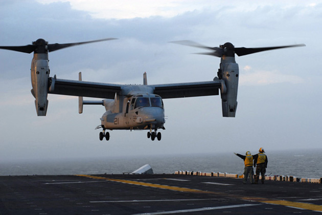 V-22 lands on USS Harry S Truman for carrier qualifications